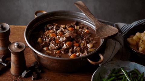Braised autumn goulash with gnocchi