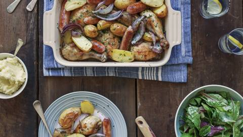 Gluten Free - One-Tray Chicken and Sausage Bake