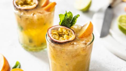 Peach, Passionfruit And Mint Mojito