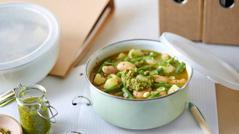 Potato and bean soup with homemade pesto