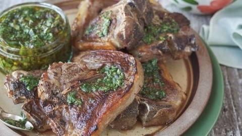BBQ Lamb Shoulder Chops with Salsa Verde