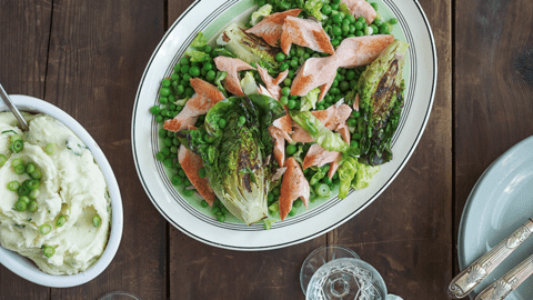 Grilled Trout with Braised Peas and Mustard Mash