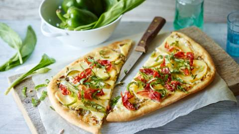 Wild Garlic Tart with Potatoes, Peppers and Ham