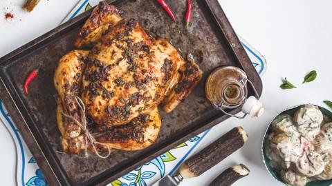 Peri Peri Roast Chicken with Easy Potato Salad