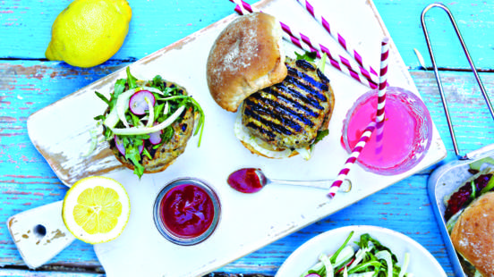 Pork & Apple Burgers with Rocket Salad