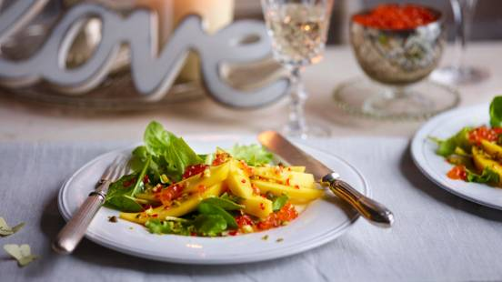 Mango and Chilli Salad with Caviar