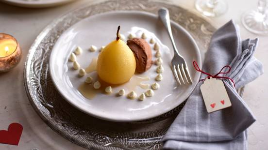 Vanilla Pear with Chocolate Ice Cream