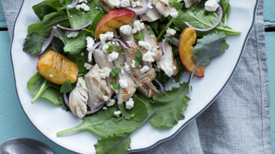 Grilled Turkey Salad with Peach and Feta