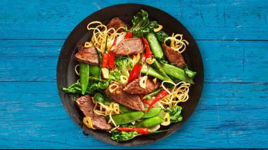 Garlic Beef Noodle Stir-Fry