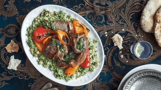 Lamb Loin Chops, Roasted Sweet Peppers and Couscous
