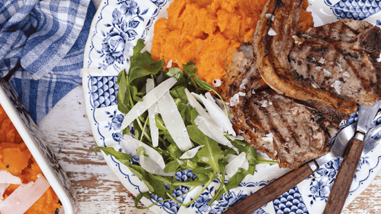 Lamb Loin Chops with Sweet Potato and Parmesan Mash
