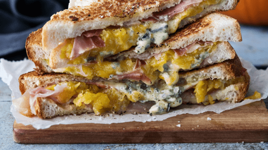 Roast Pumpkin, Prosciutto and Blue Cheese Toasties