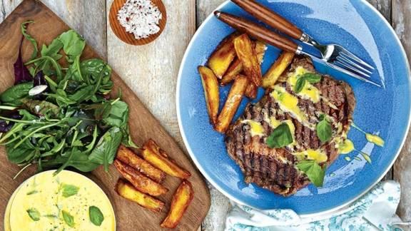 Rib-Eye Steaks with Basil and Lemon Hollandaise