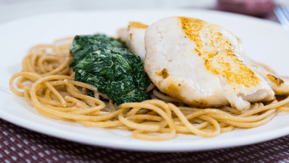 Hake with Creamy Spinach Spaghetti