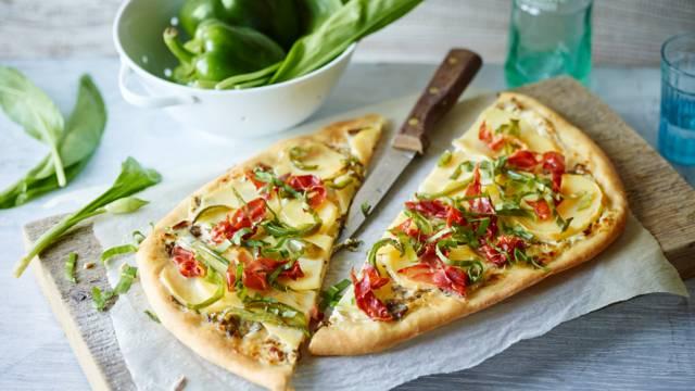 Wild Garlic Tart with Potatoes, Peppers and Italian Ham