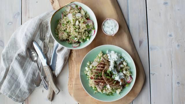 Lamb Leg Steak with Quinoa Salad