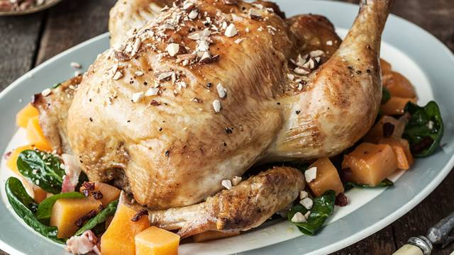 Roast Chicken with Turnips, Cider and Bacon