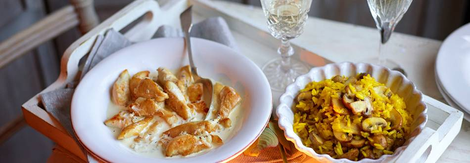 Chicken in Champagne Cream Sauce with Rice Pilaf