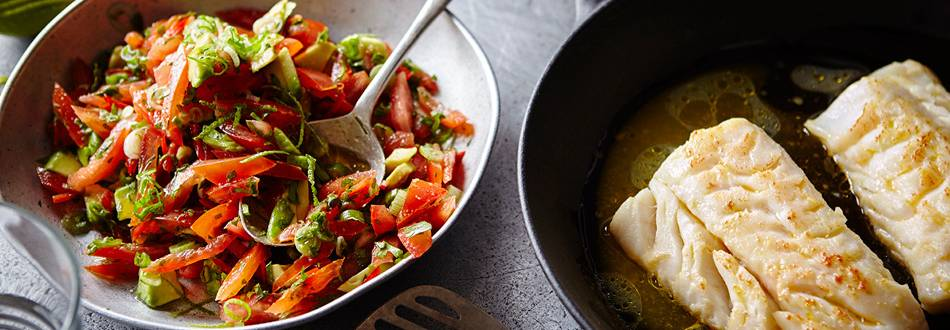Fish fillet with spicy tomato and avocado salsa