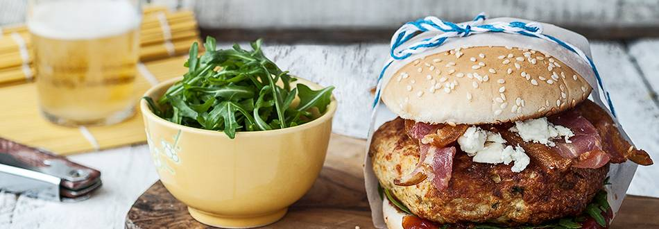 Turkey and Smoked Bacon Burgers with Feta and Rocket Salad