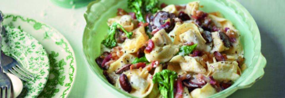 Tortellini with Broccoli in a Mushroom and Ham Cream