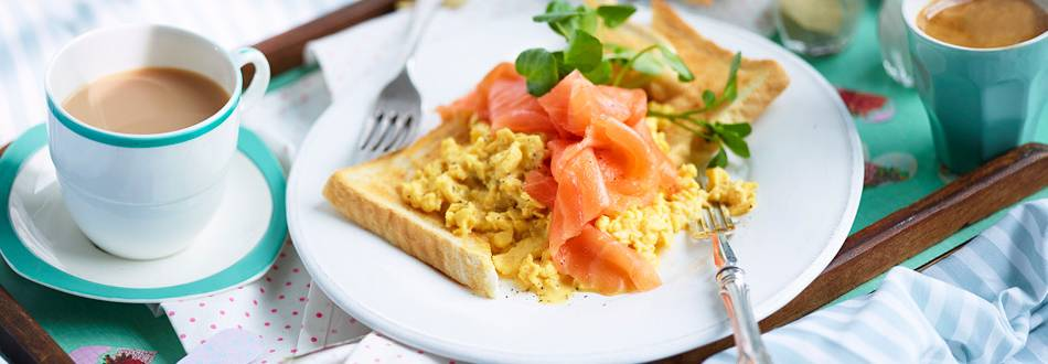 Spicy Mustard Scrambled Eggs with Smoked Salmon
