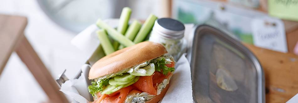 Fresh salmon, apple and dill bagel